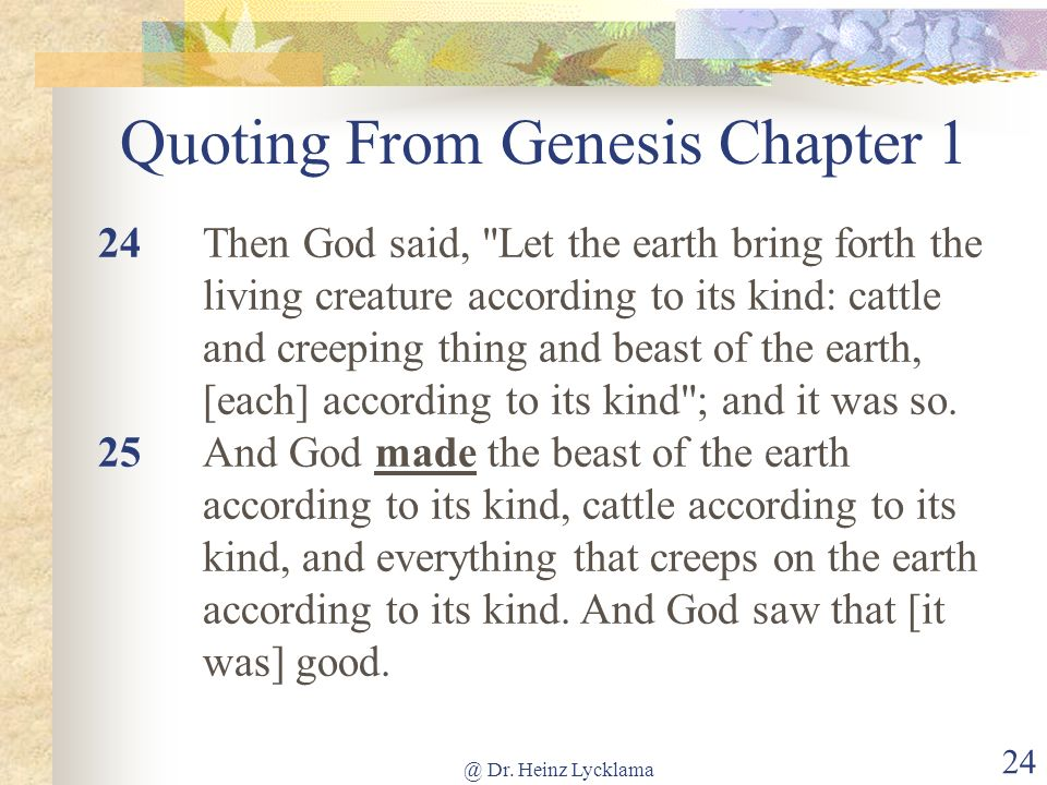 Quoting From Genesis Chapter 1