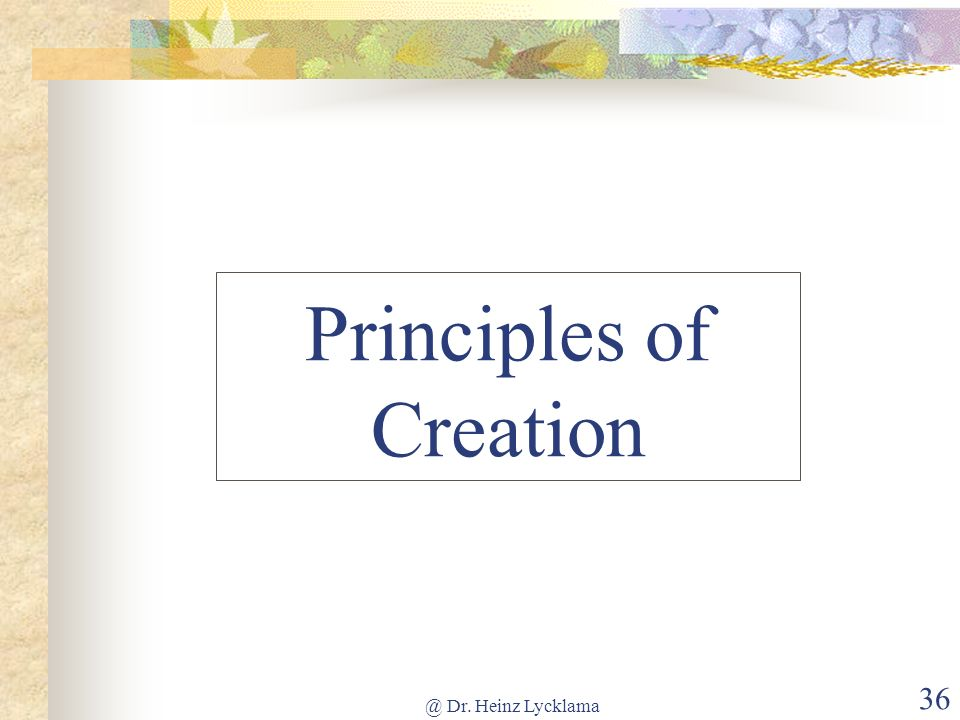 Principles of Creation
