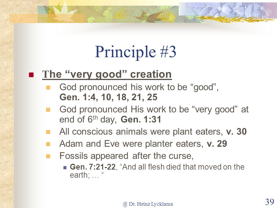 Principle #3 The very good creation