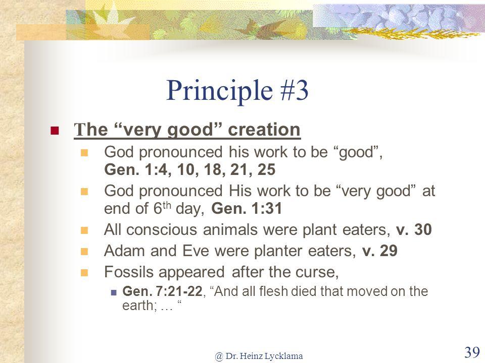 Principle #3 The very good creation