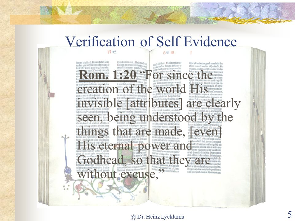 Verification of Self Evidence