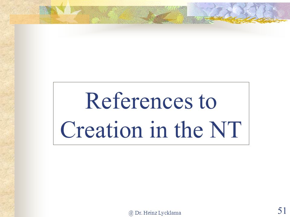 References to Creation in the NT