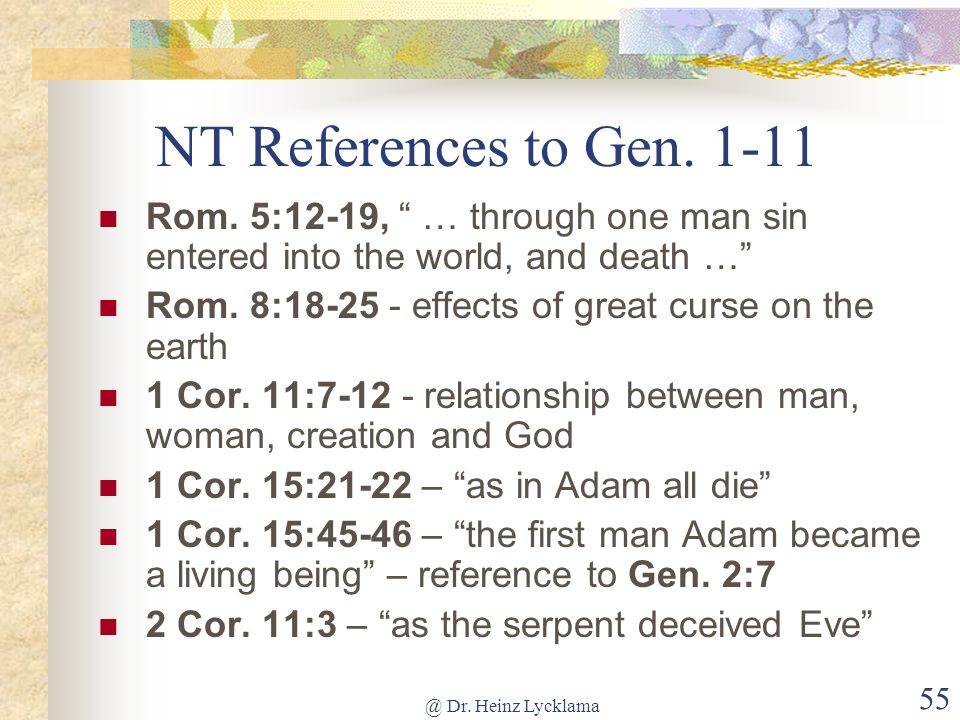NT References to Gen. 1-11 Rom. 5:12-19, … through one man sin entered into the world, and death …