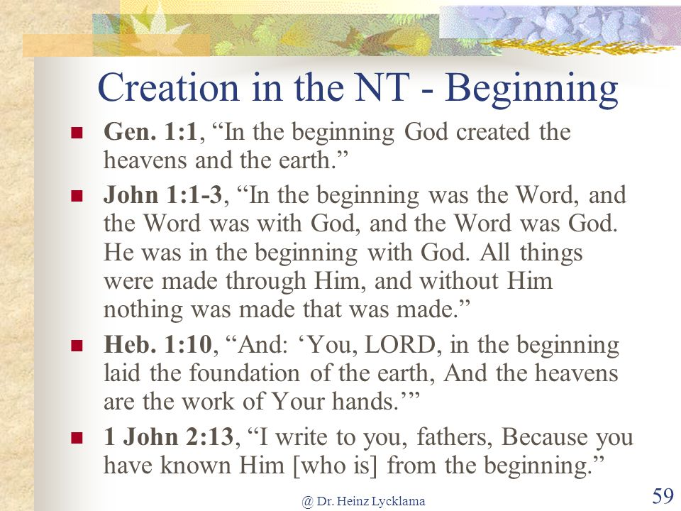 Creation in the NT - Beginning