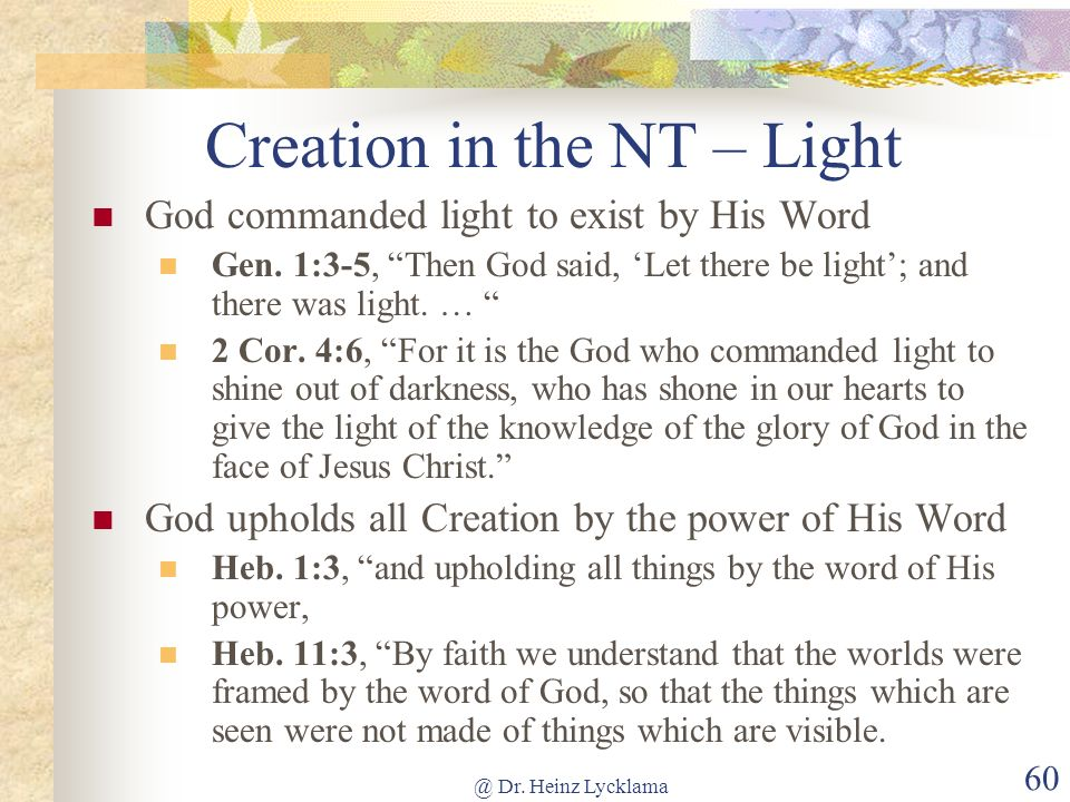 Creation in the NT – Light