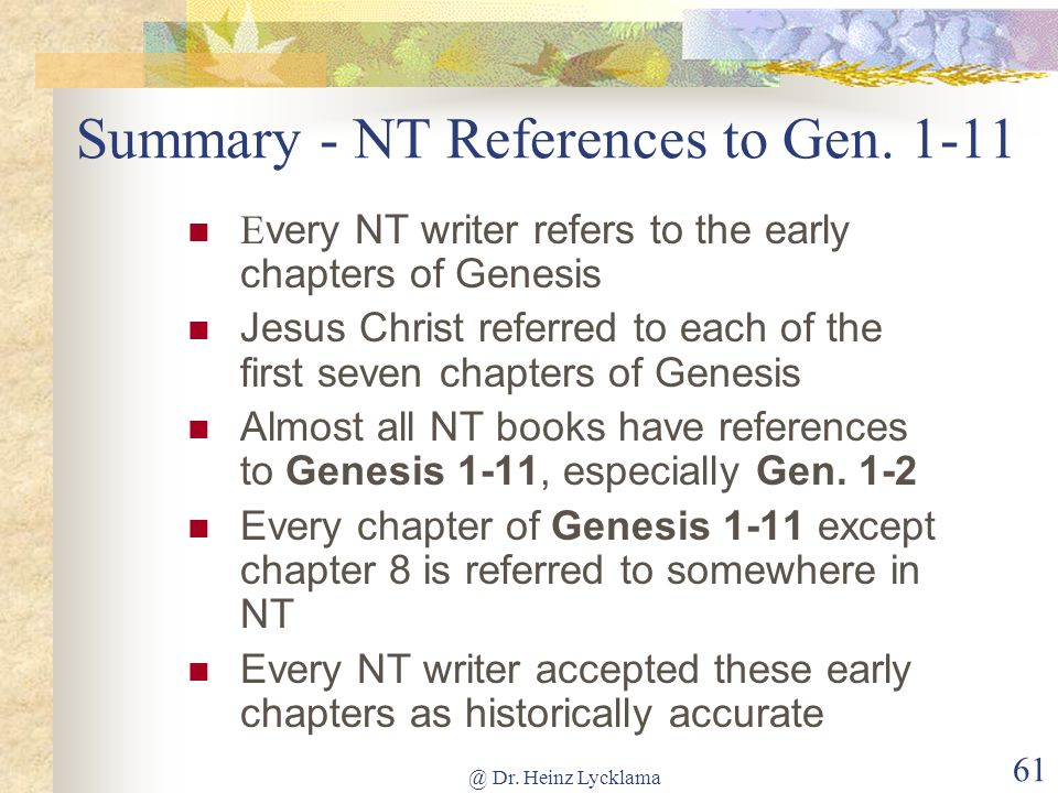 Summary - NT References to Gen. 1-11