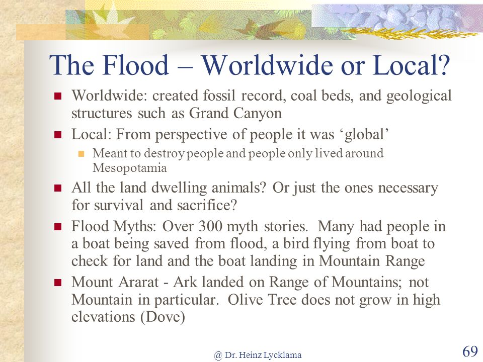 The Flood – Worldwide or Local