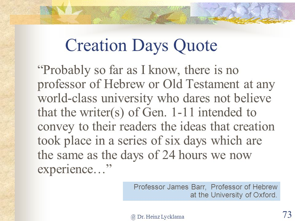 Creation Days Quote