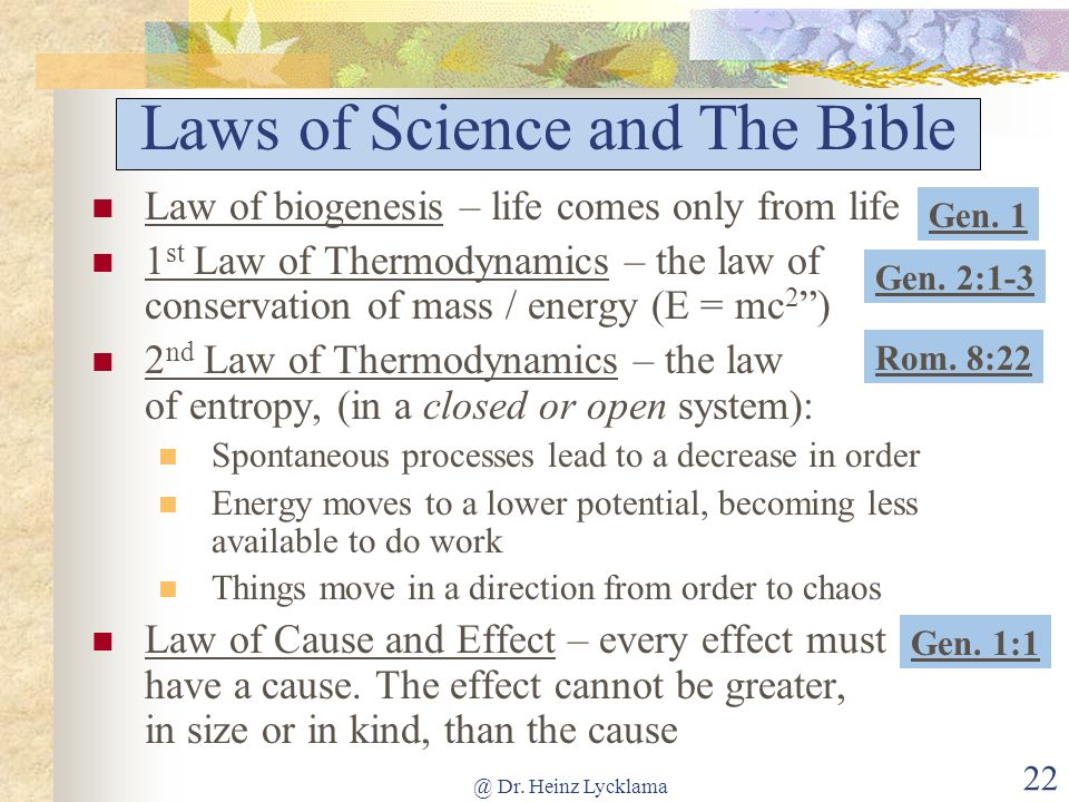 Laws of Science and The Bible