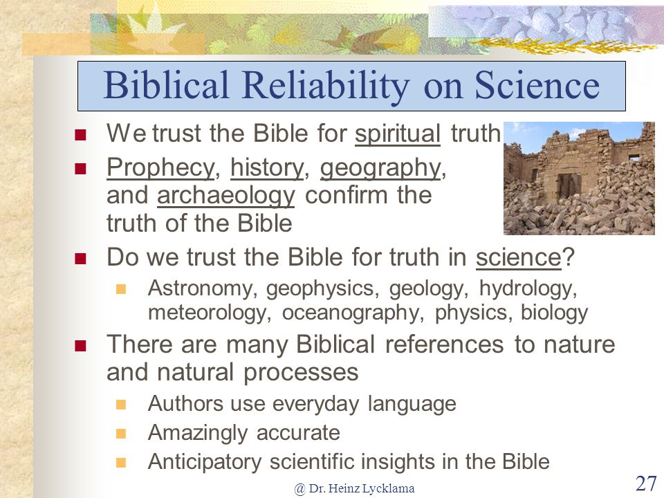 Biblical Reliability on Science