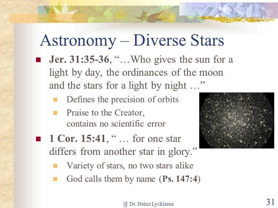 Astronomy – Diverse Stars