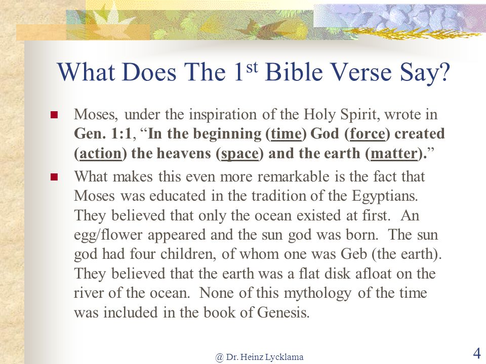 What Does The 1st Bible Verse Say