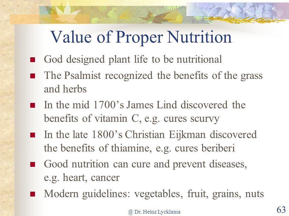 Value of Proper Nutrition