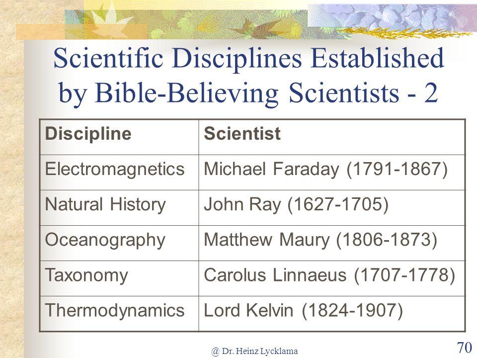 Scientific Disciplines Established by Bible-Believing Scientists - 2