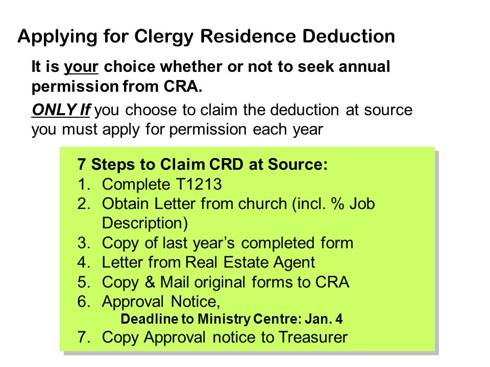 cra clergy residence deduction guide