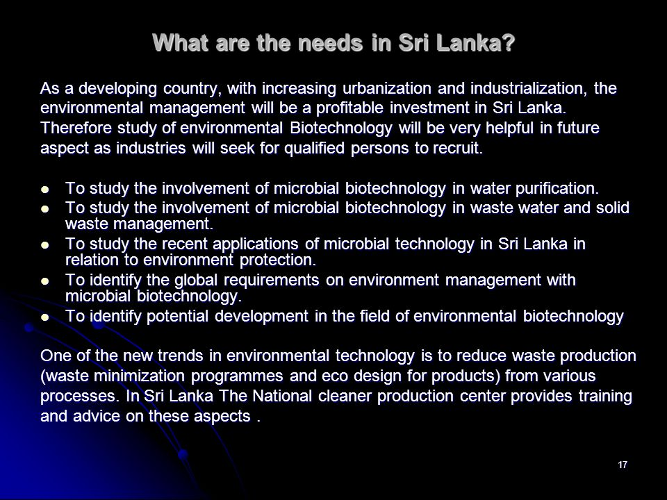 What are the needs in Sri Lanka