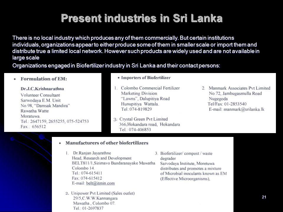 Present industries in Sri Lanka