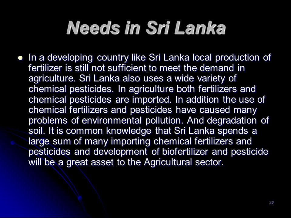 Needs in Sri Lanka