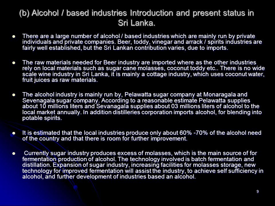 (b) Alcohol / based industries Introduction and present status in Sri Lanka.