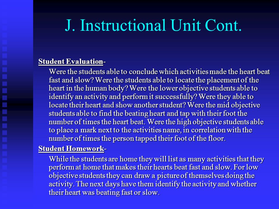 J. Instructional Unit Cont.