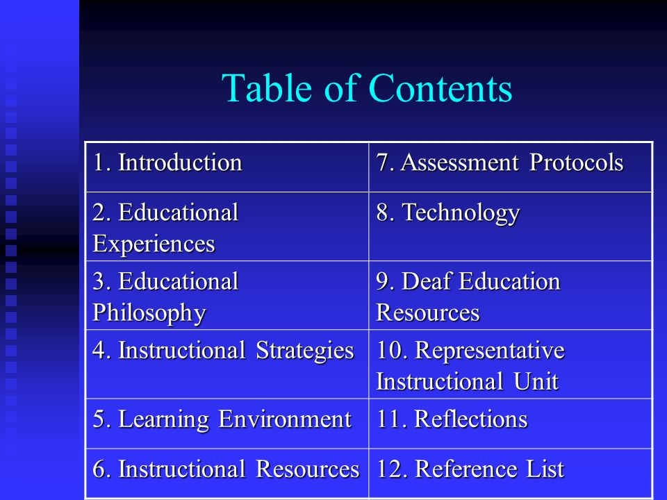 Table of Contents 1. Introduction 7. Assessment Protocols