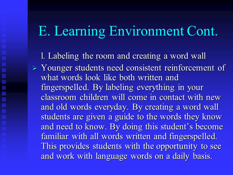 E. Learning Environment Cont.