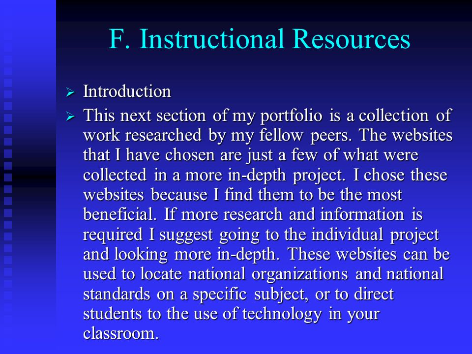 F. Instructional Resources