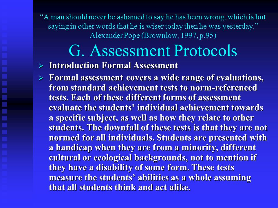 Introduction Formal Assessment