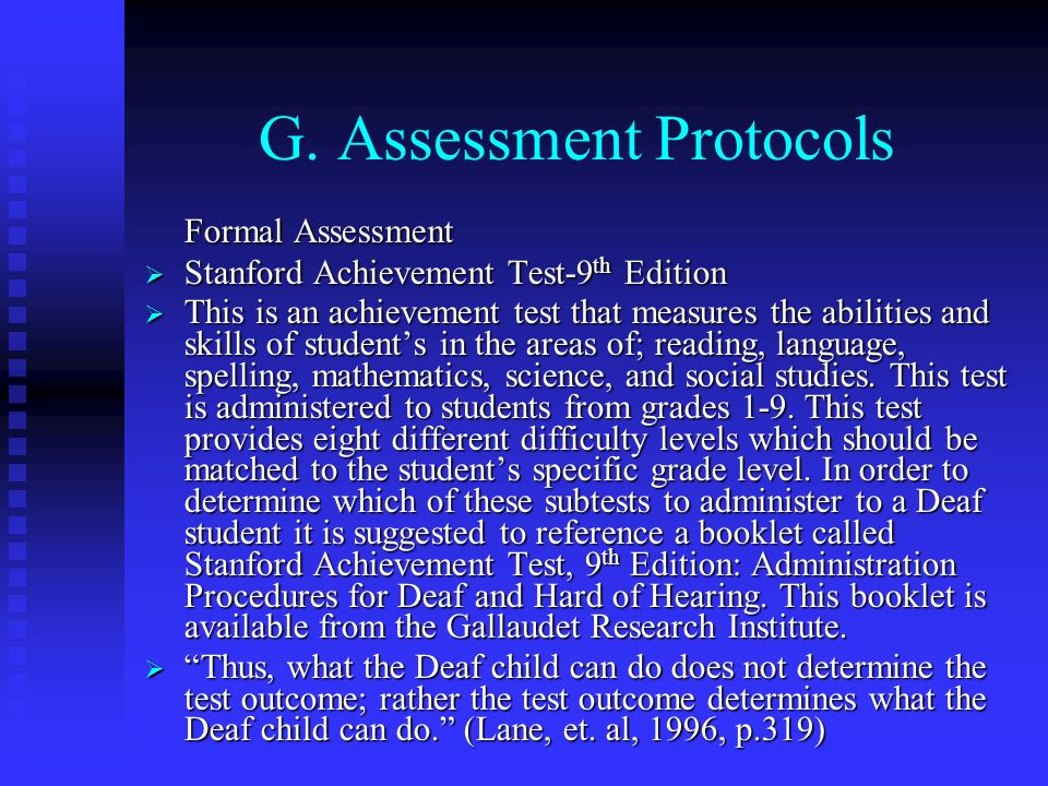 G. Assessment Protocols