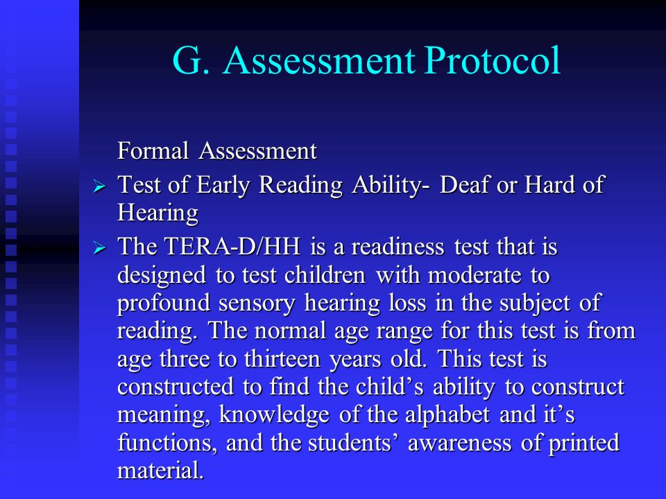 G. Assessment Protocol Formal Assessment