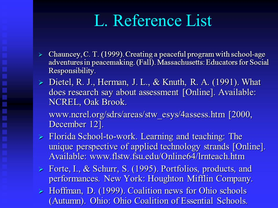 L. Reference List