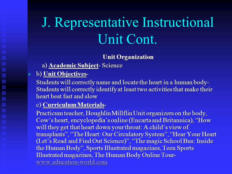 J. Representative Instructional Unit Cont.