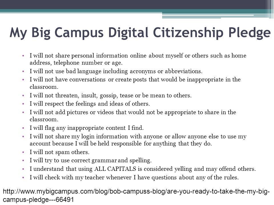 My Big Campus Digital Citizenship Pledge