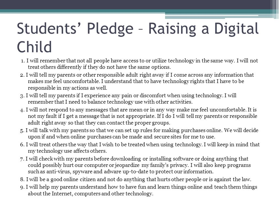 Students' Pledge – Raising a Digital Child