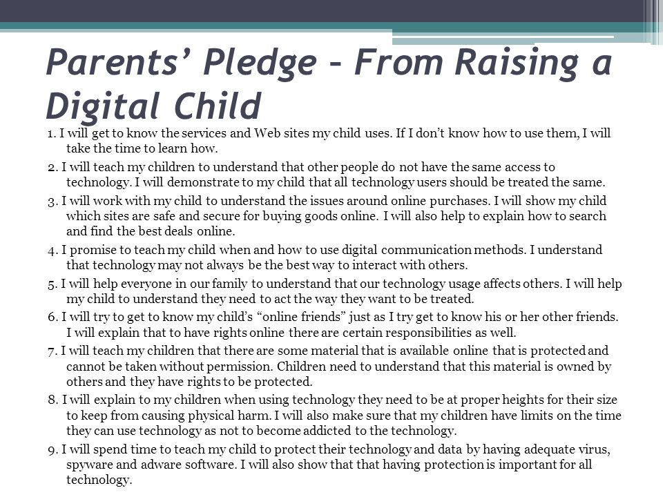 Parents' Pledge – From Raising a Digital Child