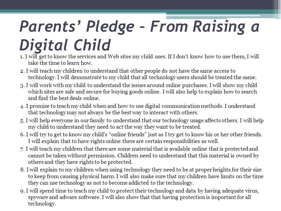 Parents' Pledge – From Raising a Digital Child