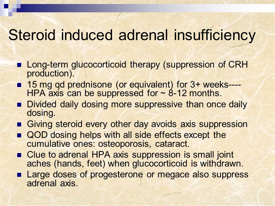 Steroid induced adrenal insufficiency
