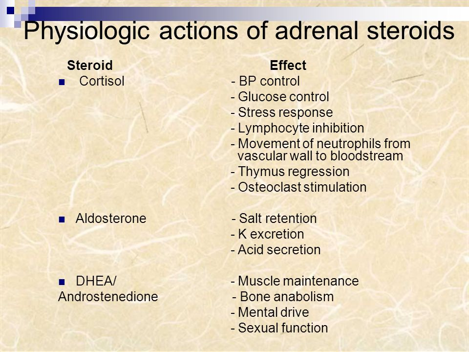 Physiologic actions of adrenal steroids