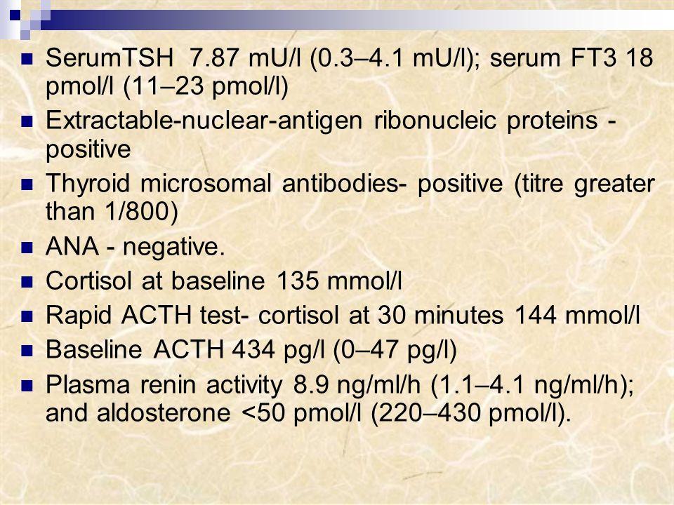 SerumTSH 7.87 mU/l (0.3–4.1 mU/l); serum FT3 18 pmol/l (11–23 pmol/l)