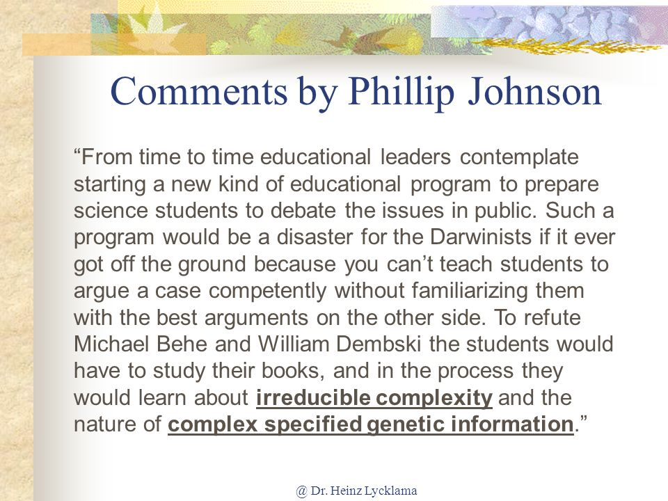 Comments by Phillip Johnson
