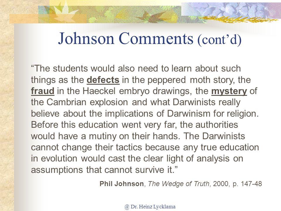 Johnson Comments (cont'd)