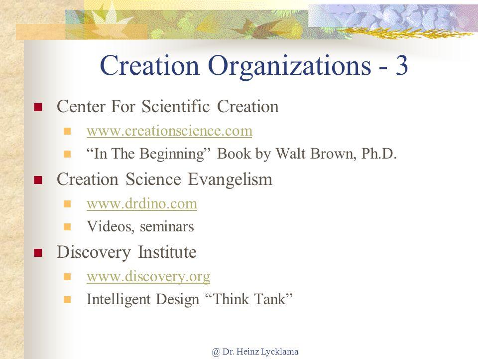 Creation Organizations - 3