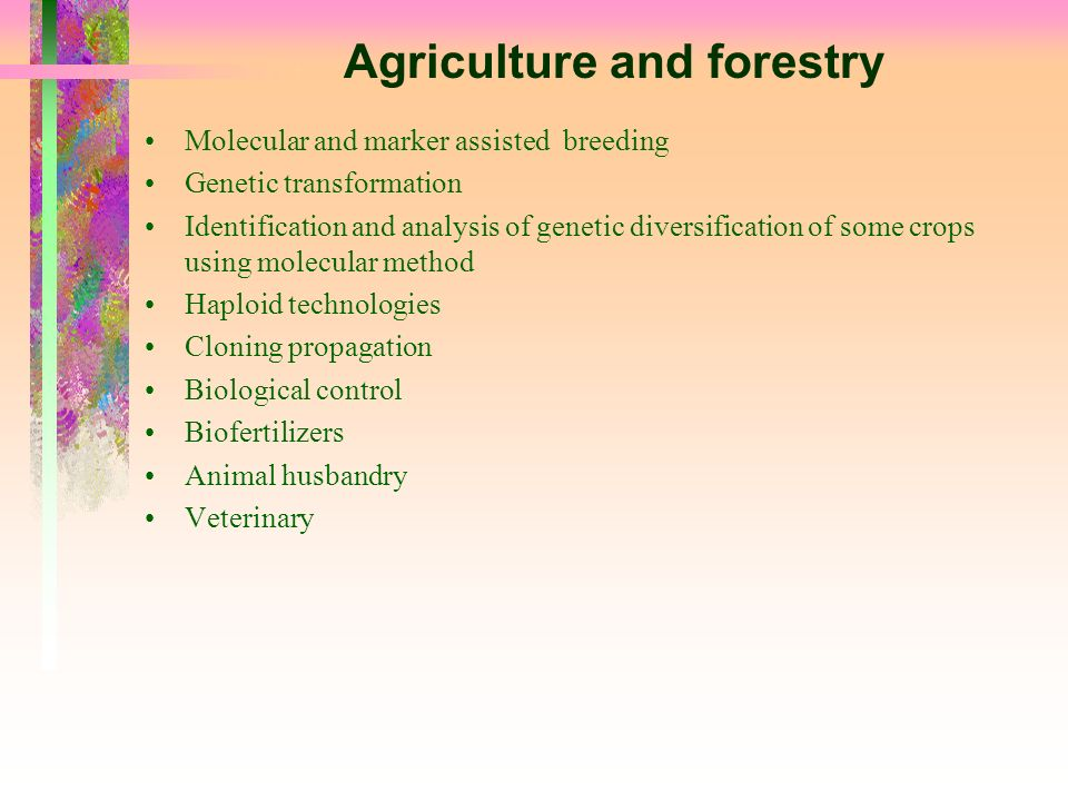 Agriculture and forestry