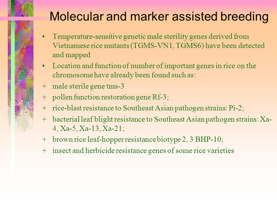 Molecular and marker assisted breeding