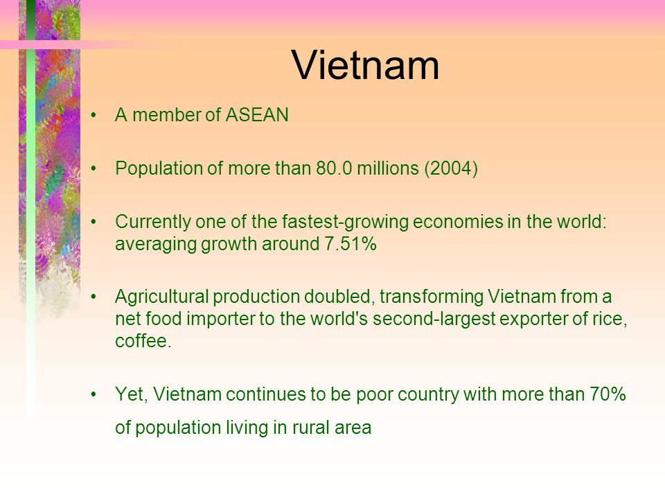 Vietnam A member of ASEAN Population of more than 80.0 millions (2004)