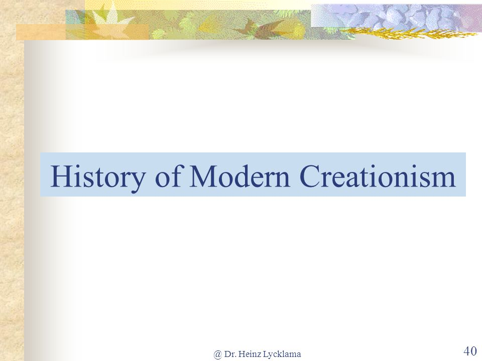 History of Modern Creationism