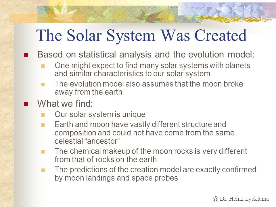 The Solar System Was Created