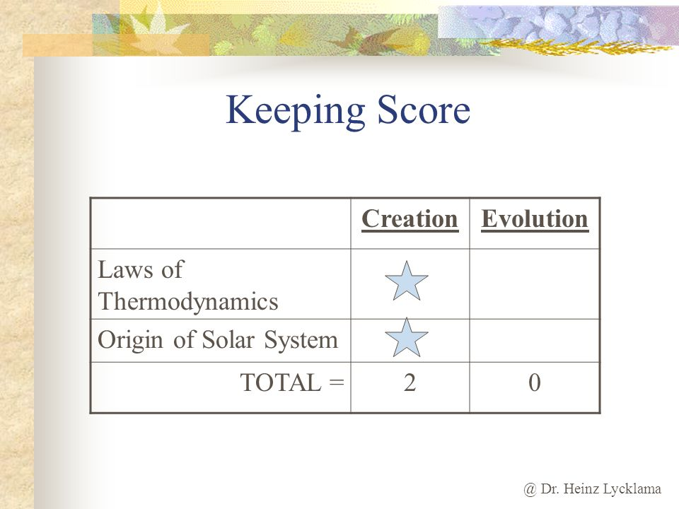Keeping Score Creation Evolution Laws of Thermodynamics
