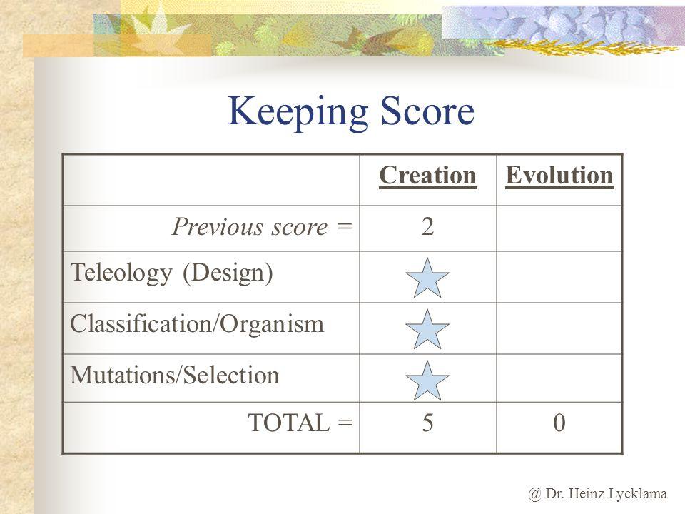 Keeping Score Creation Evolution Previous score = 2 Teleology (Design)