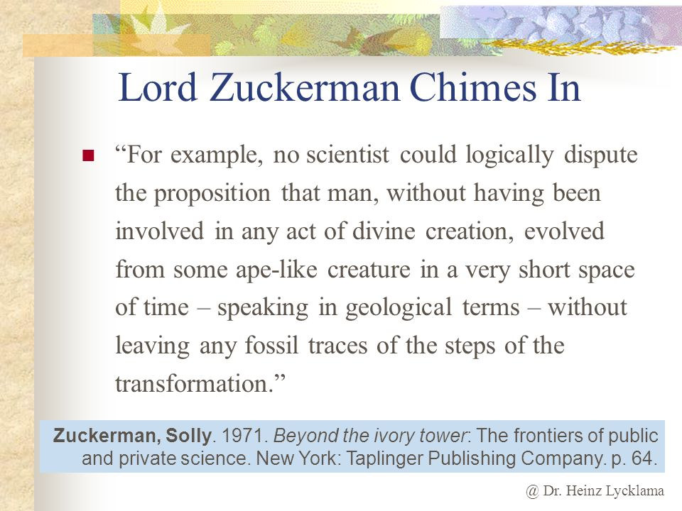 Lord Zuckerman Chimes In